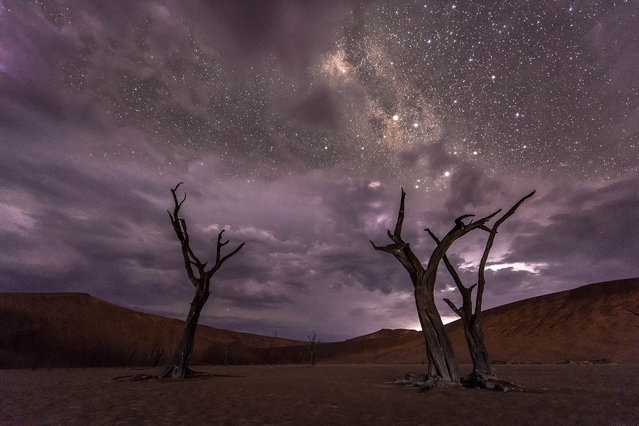 A time-lapse image of a storm in the Namib Desert on June 7, 2016. (Photo by Brendon Cremer/Caters News)