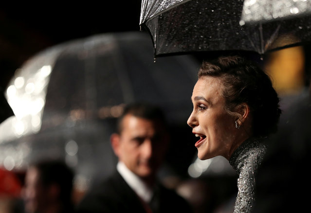 "Actor Keira Knightley reacts as she arrives for the UK premiere of ""Colette"" during the London Film Festival, in London, Britain October 11, 2018. (Photo by Simon Dawson/Reuters)"