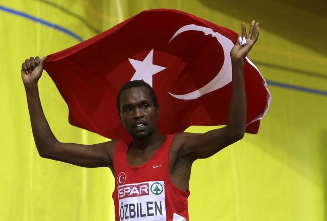 Tanui Ilham Ozbilen of Turkey celebrates his second place at the men's 1500 metres final during the European Indoor Championships in Prague March 8, 2015. REUTERS/David W Cerny (CZECH REPUBLIC  - Tags: SPORT ATHLETICS)