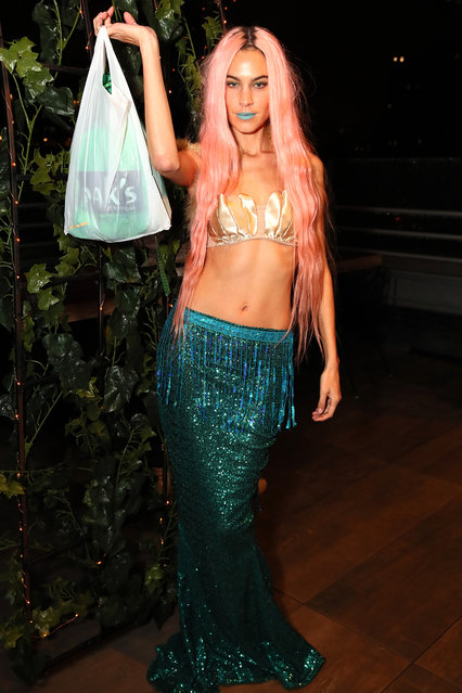 Alexa Chung dressed as Mermaid with Plastic at The Misshapes Halloween party hosted by Ketel One Family-Made Vodka on October 27, 2018 in New York City. (Photo by Astrid Stawiarz/Getty Images for Ketel One Family-Made Vodka)