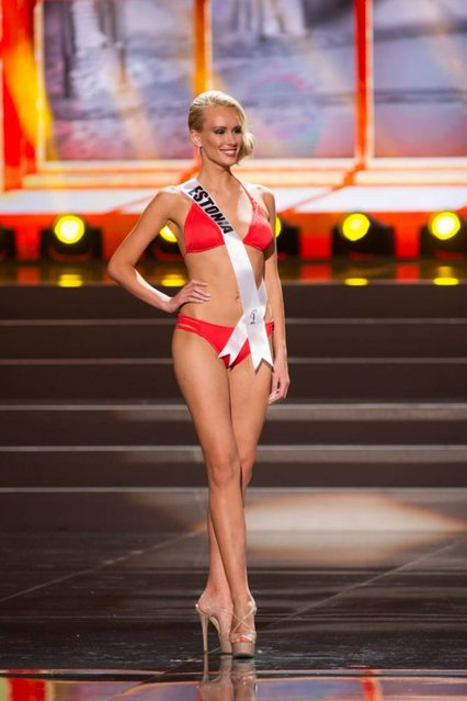 This photo provided by the Miss Universe Organization shows Kristina Karjalainen, Miss Estonia 2013, competes in the swimsuit competition during the Preliminary Competition at Crocus City Hall, Moscow, on November 5, 2013. (Photo by Darren Decker/EPA)