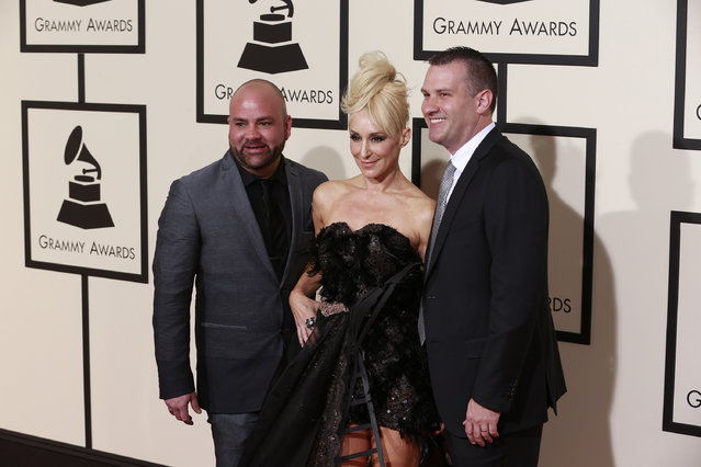 Fatum and Jes arrive at the 58th Annual Grammy Awards on Monday, February 15, 2016, at the Staples Center in Los Angeles. (Photo by Kirk McKoy/Los Angeles Times/TNS)