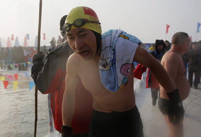 A swimmer reacts after swimming in a pool carved into the thick ice covering the Songhua River during the Harbin Ice Swimming Competition in the northern city of Harbin, Heilongjiang province January 5, 2014. (Photo by Kim Kyung-Hoon/Reuters)