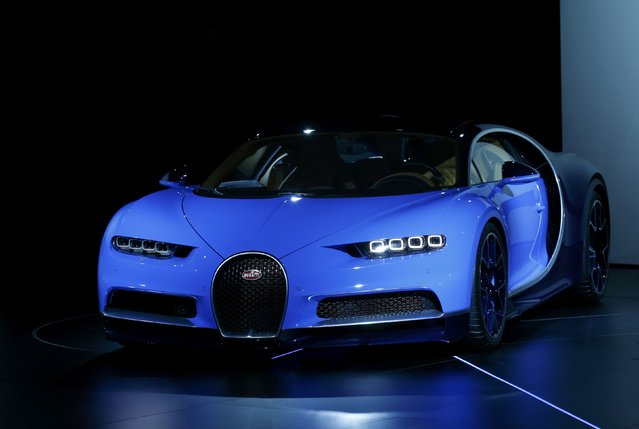 The new Bugatti Chiron car is presented ahead of the 86th International Motor Show in Geneva, Switzerland, February 29, 2016. (Photo by Denis Balibouse/Reuters)