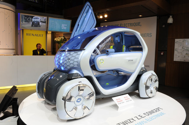 A Twizy Z.E. (Zero Emission) concept car is displayed at the Renault Champs Elysees showroom in Paris Friday, November 6, 2009. (Photo by Jacky Naegelen/Reuters)