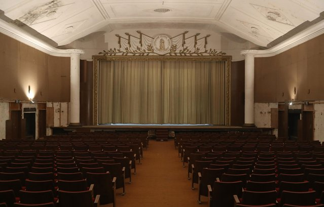 Curtains hang over the stage in the theater and cinema in the officers' building at the former Soviet military base on January 26, 2017 in Wuensdorf, Germany. (Photo by Sean Gallup/Getty Images)