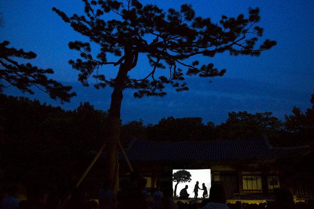 People watch a shadow play performance at Changgyeonggung  Palace in Seoul, May 6, 2015. (Photo by Thomas Peter/Reuters)