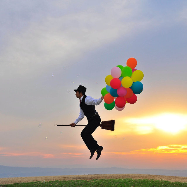 A man and his broomstick are bringing magic to Instagram with these uplifting snaps. Daisuke Kujiraoka, 36, from Tokyo, Japan, snapped himself levitating across the country and uploaded them to the social media site. The quirky artist has posed with aeroplanes and cars appearing to float in mid-air Harry Potter-style. (Photo by Daisuke Kujiraoka/Caters News/Mercury Press)