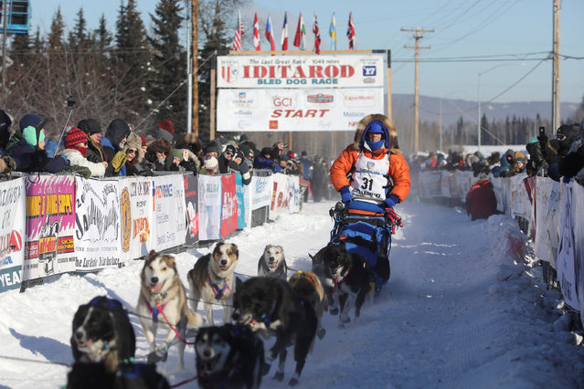 Cindy Abbott competes in the official restart of the Iditarod, a nearly 1,000 mile (1,610 km) sled dog race across the Alaskan wilderness, in Fairbanks, Alaska, U.S. March 6, 2017. (Photo by Nathaniel Wilder/Reuters)