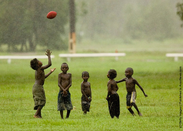 Tiwi Island residents play Australian Rules football at their local oval March 5, 2007 on the Tiwi Island, Australia