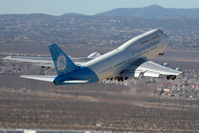 A General Electric (GE.N) Propulsion Test Platform plane takes off near Victorville, California on March 29, 2018. (Photo by Lucy Nicholson/Reuters)