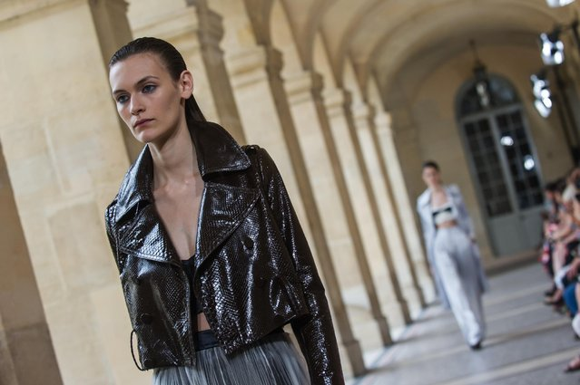A model wears a creation for Bouchra Jarrar's fall-winter 2015/2016 Haute Couture fashion collection presented in Paris, France, Tuesday, July 7, 2015. (Photo by Kamil Zihnioglu/AP Photo)