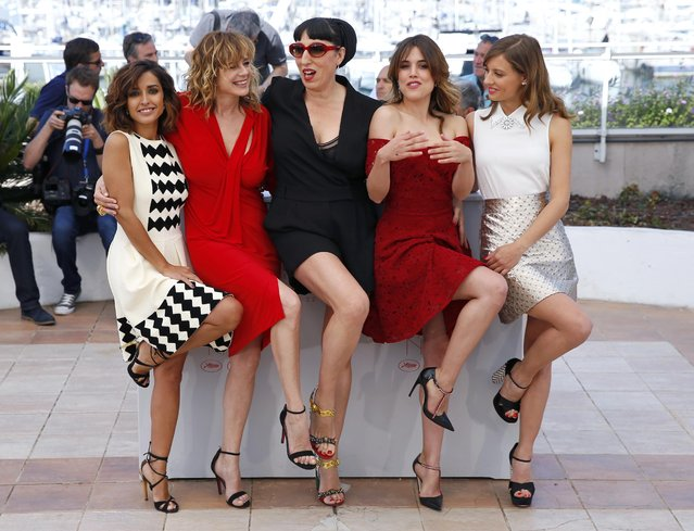 "Cast members Michelle Jenner, Emma Suarez, Rossy De Palma, Adriana Ugarte and Inma Cuesta (L-R) pose during a photocall for the film ""Julieta"" in competition at the 69th Cannes Film Festival in Cannes, France, May 17, 2016. (Photo by Yves Herman/Reuters)"