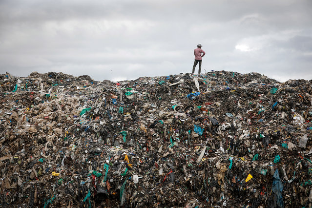 A man stands on top of a mountain of garbage at Dandora dumpsite, Nairobi, Kenya, 05 December 2019 (issued 10 December 2019). Many slum dwellers scavenge in a hazardous environment of Dandora for a living where they make average of 200-400 Kenya shillings (2-4 US dollars) a day. According to Seth Munyambu, the Quality Environment manager of the WEEE Center (Waste Electrical and Electronic Equipment) which is the only legally registered e-waste recycling company in Kenya, the company processes 240-280 tons of e-waste per year, less than one percent of the total amount of 44,000 tons generated annually by the country. While the facility has the capacity to handle 75 tons monthly, only 20-25 tons are received from disposers. Much of the e-waste in Nairobi ends up in dumpsites such as Dandora where people scavenge for valuables including e-waste which are rarely disposed in proper manners. 'Awareness among the public and the law specifically addresses the e-waste are the key', Munyambu says. A 2019 United Nations report says some 50 million tonnes of e-waste is being thrown away each year, posing a serious threat to the environment and human health worldwide. The UN Climate Change Conference (COP25) is currently taking place in Madrid, Spain. (Photo by Dai Kurokawa/EPA/EFE)