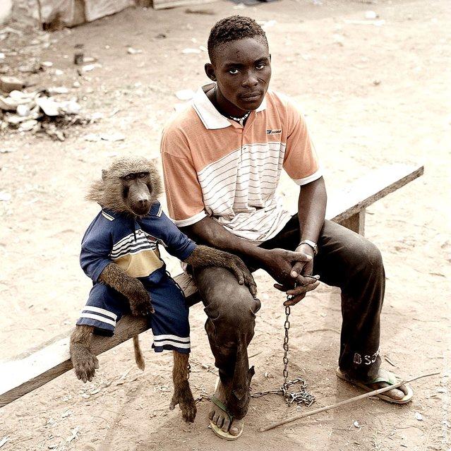 Dayaba Usman with the monkey Clear, Nigeria 2005