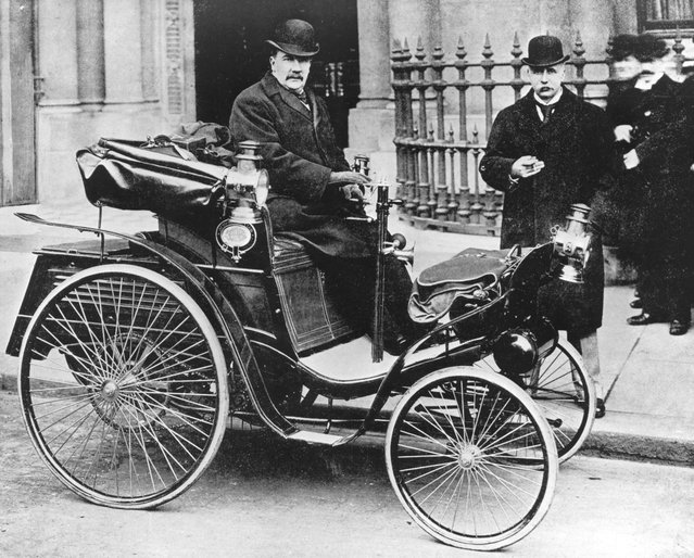 Pioneer motorist and aviator Frank Hedges Butler driving his Benz car, 1898.