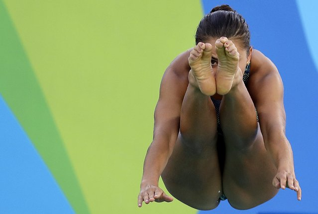 United States' Kassidy Cook dives during a training session at the Maria Lenk Aquatic Center at the 2016 Summer Olympics in Rio de Janeiro, Brazil, Thursday, August 11, 2016. (Photo by Wong Maye-E/AP Photo)