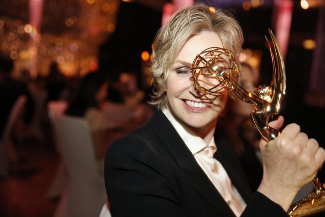Jane Lynch attends the Governors Ball for the Television Academy's Creative Arts Emmy Awards at Microsoft Theater on Saturday, September 12, 2015, in Los Angeles. (Photo by Colin Young-Wolff/Invision for the Television Academy/AP Images)