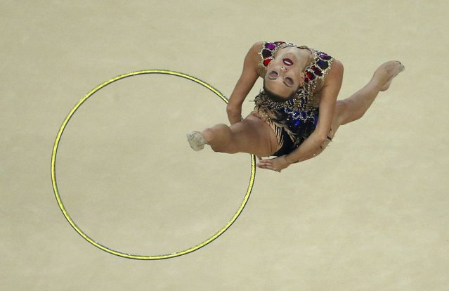 2016 Rio Olympics, Rhythmic Gymnastics, Final - Individual All-Around Final, Rotation 1, Rio Olympic Arena, Rio de Janeiro, Brazil on August 20, 2016. Melitina Staniouta (BLR) of Belarus competes using the hoop. (Photo by Ruben Sprich/Reuters)