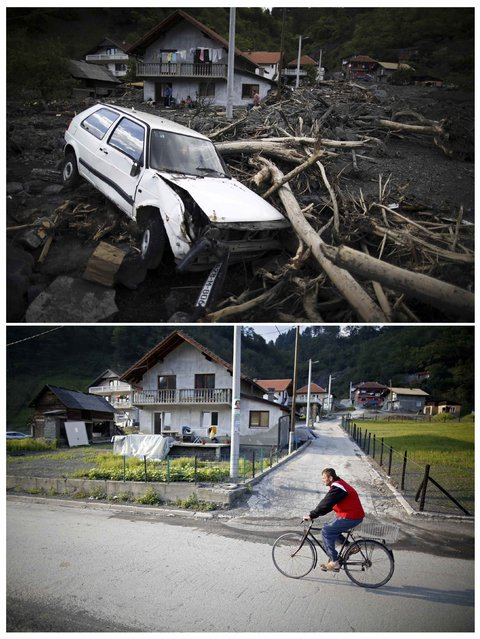 A combination photo shows Topcic Polje during floods May 20, 2014 (top) and the same place after floods October 8, 2014. (Photo by Dado Ruvic/Reuters)