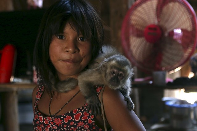 An indigenous girl carries a monkey inside her house in their village at Xingu national park in Mato Grosso, Brazil, October 2, 2015. (Photo by Paulo Whitaker/Reuters)