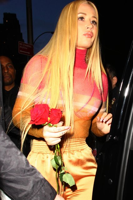 Iggy Azalea wears a see-through long sleeve top while out and about in New York City, USA on February 15, 2018, (Photo by Felipe Ramales/Splash News and Pictures)