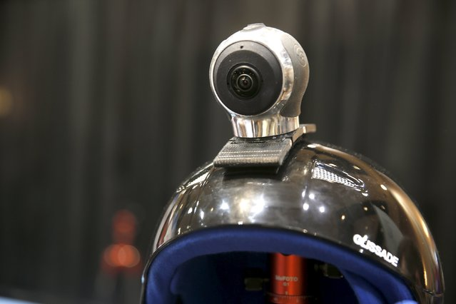 """An Allie Go, a 360-degree action cam, by IC Real Tech is shown on a helmet during """"CES Unveiled,"""" a preview event of the 2016 International CES trade show, in Las Vegas, Nevada January 4, 2016. The $599.00 camera uses two sensors with over 180 degree-coverage each and combines the video in the unit using Qualcomm processors. (Photo by Steve Marcus/Reuters)"""