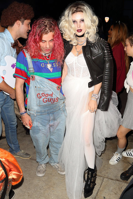 Bella Thorne and Mod Sun arrive to halloween party dressed as Tiffany and Chucky from Bride of Chucky in Los Angeles, CA on October 31, 2018. (Photo by Pap Nation/Splash News and Pictures)