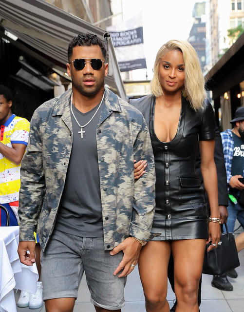 American singer, songwriter, dancer, and model Ciara and Russell Wilson were spotted arm-in-arm while arriving at Philippe Chow for dinner in NYC on June 30, 2021. (Photo by Wise Owl/The Mega Agency)