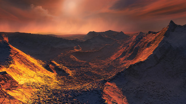 "An artistic impression of a sunset from Barnard's star on a newly detected planet dubbed ""Super Earth"", in this handout photo provided November 14, 2018. (Photo by European Southern Observatory/M. Kornmesser/Handout via Reuters)"