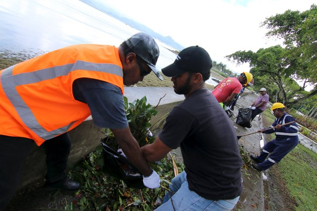 Workers from Suva's City Council clean up debris along the seawall in the aftermath of Cyclone Winston in Fiji's capital, February 22, 2016. (Photo by Steven Saphore/Reuters)