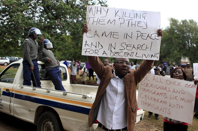 "Zimbabweans hold a demonstration against recent anti-immigrant violence in South Africa outside the South African Embassy in Harare, April 17, 2015. South Africa sought diplomatic support from countries across the continent on Friday to defeat the ""demon"" of anti-immigrant violence in which at least four people have been killed over the past fortnight. (Photo by Philimon Bulawayo/Reuters)"