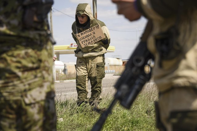 "A man stands tied to a post by pro-Russian rebels, accused of stealing from local people, with a poster around his neck reading  ""I am marauder, I beat and steal from civilians"",  standing next to a highway in Krasnyi Partyzan, Ukraine, Thursday, April 23, 2015. (Photo by Mstyslav Chernov/AP Photo)"