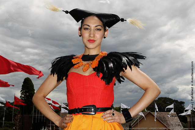 Angela Menz, a competitor in the fashion in the fields contest, attends Epsom Super Saturday at Randwick Racecourse