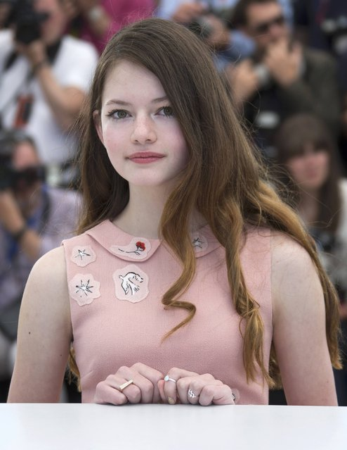 """Voice actress Mackenzie Foy poses during a photocall for the animated film """"The Little Prince"""" (Le Petit Prince) out of competition at the 68th Cannes Film Festival in Cannes, southern France, May 22, 2015. (Photo by Yves Herman/Reuters)"""