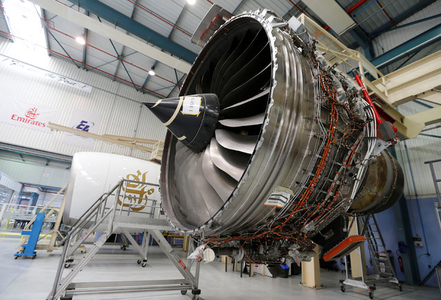 Engines are pictured in this general view at the Aircelle plant  during the delivery of the first series-production LEAP-1A propulsion systems by Aircelle for the A320neo aircraft Airbus family in Colomiers near Toulouse, Southwestern France, April 15, 2016. (Photo by Regis Duvignau/Reuters)