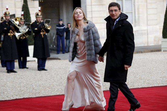 Australian actress Melissa George and her companion Jean-David Blanc arrive to attend a dinner given in honour of Australia's Governor-General Peter Cosgrove at the Elysee palace in Paris, France, April 26, 2016. (Photo by Philippe Wojazer/Reuters)