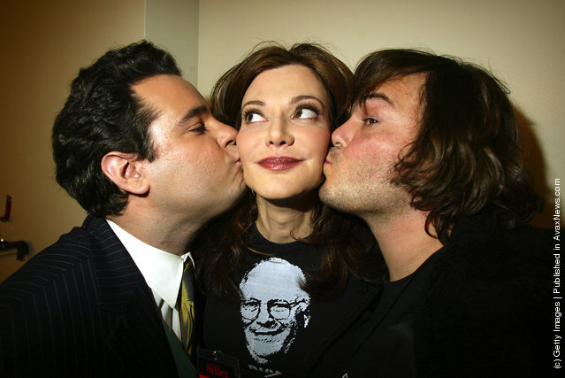 Laura Kightlinger with Jack Black, on right, and Paul F. Tompkins backstage after a taping for Comedy Central Presents at the Hudson Theater in New York City