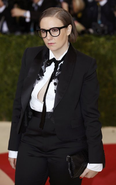 """Actress Lena Dunham arrives at the Metropolitan Museum of Art Costume Institute Gala (Met Gala) to celebrate the opening of """"Manus x Machina: Fashion in an Age of Technology"""" in the Manhattan borough of New York, May 2, 2016. (Photo by Eduardo Munoz/Reuters)"""