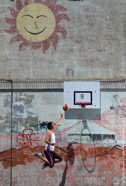 Australian basketball player Jenna O'Hea poses during a portrait session