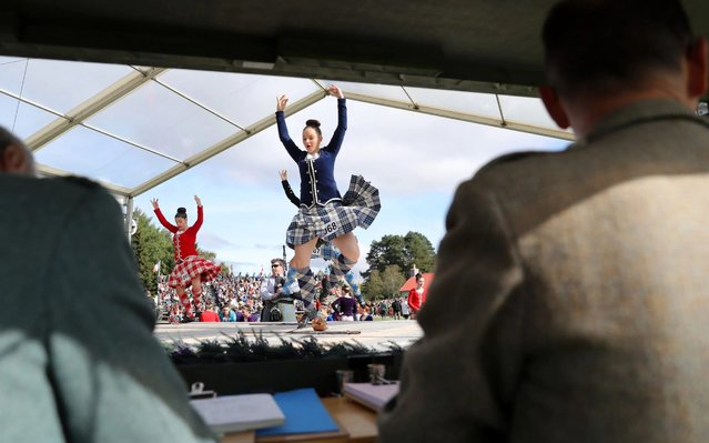 Judges watch competitors during the highland dancing competition at the 2019 Braemar Highland Games at The Princess Royal and Duke of Fife Memorial Park on September 07, 2019 in Braemar, Scotland. (Photo by Chris Jackson/Getty Images)