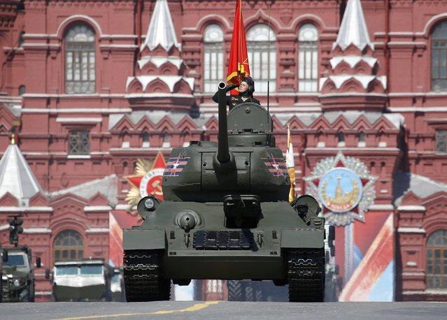 A T-34 Soviet-made tank drives during the Victory Day parade, marking the 71st anniversary of the victory over Nazi Germany in World War Two, at Red Square in Moscow, Russia, May 9, 2016. (Photo by Sergei Karpukhin/Reuters)