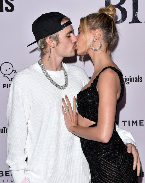 "Justin Bieber and Hailey Bieber attend the Premiere of YouTube Original's ""Justin Bieber: Seasons"" at Regency Bruin Theatre on January 27, 2020 in Los Angeles, California. (Photo by Axelle/Bauer-Griffin/FilmMagic)"