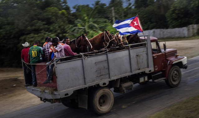 In this July 26, 2015 photo, horsemen take their horses back to the farm after a rodeo show in Santiago, Cuba.  The journey by road to Santiago from Havana can last 15 hours, and far longer in Cuba's notoriously unreliable and uncomfortable inter-city buses. Train and domestic plane tickets are virtually impossible to obtain without waiting hours in lines that may or may not end in satisfaction. There are only three flights a week from the U.S. (Photo by Ramon Espinosa/AP Photo)
