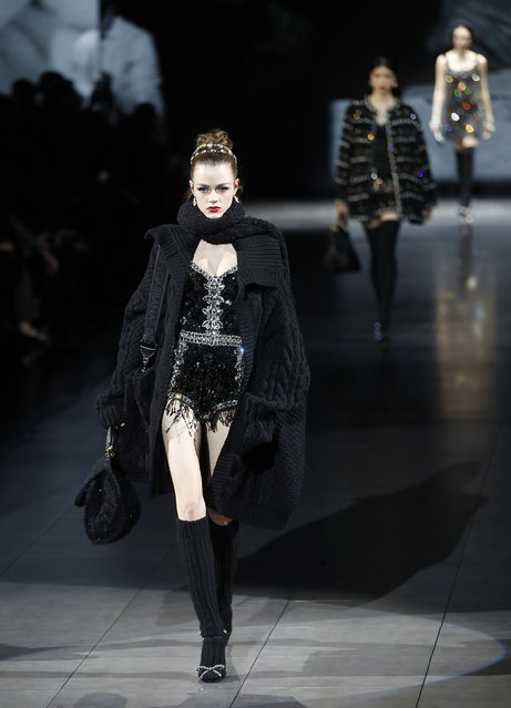 A model wears a creation as part of the Dolce & Gabbana women's Fall Winter 2020-21 collection, unveiled during the Fashion Week in Milan, Italy, Sunday, February 23, 2020. (Photo by Antonio Calanni/AP Photo)