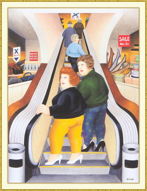 The Escalator. Artwork by Beryl Cook