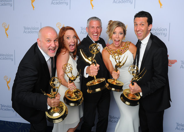 "Chuck Saftler, from left, Maureen Timpa, Brian Katkin, Tava Smiley, and Adam Lewinson, winners of the award for outstanding short format nonfiction program for ""A Tribute to Mel Brooks"", pose for a portrait at the Television Academy's Creative Arts Emmy Awards at Microsoft Theater on Saturday, September 12, 2015, in Los Angeles. (Photo by Vince Bucci/Invision for the Television Academy/AP Images)"