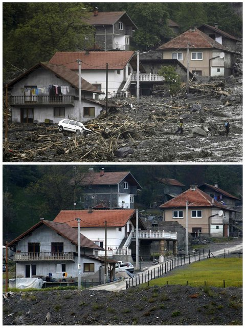 A combination photo shows people evacuating from their flooded houses during floods May 16, 2014 (top) and the same place after floods October 8, 2014 in Topcic Polje. (Photo by Dado Ruvic/Reuters)