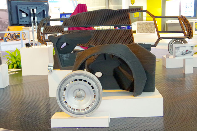 The world's first 3D printed car – the Stratti – was built in just 45 hours at the International Manufacturing Technology Show which took place between September 8 – 13, 2014. The Strati, which is Italian for layers, has a chassis body made of one solid piece and has a top speed of 40mph. (Photo by Barcroft Media/ABACAPress)