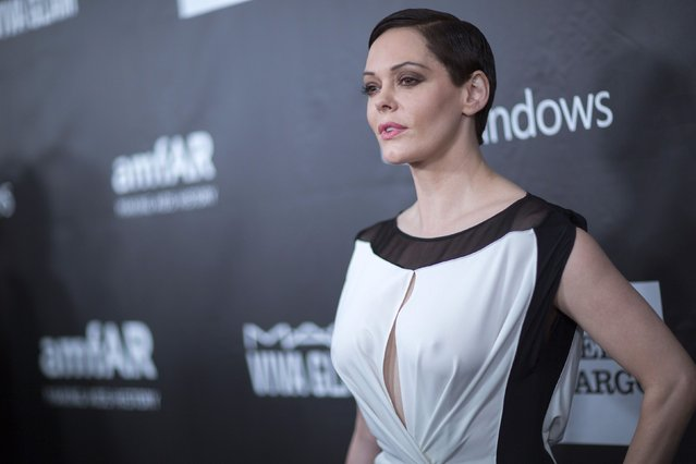 Actress Rose McGowan poses at amfAR's Fifth Annual Inspiration Gala in Los Angeles, California October 29, 2014. (Photo by Mario Anzuoni/Reuters)